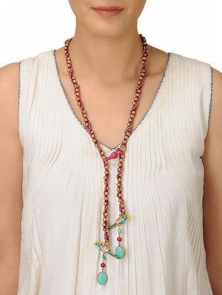 Pink Thread Brass Beaded Necklace with Bird Design
