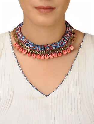 Blue-Red Fabric Braided Brass Necklace