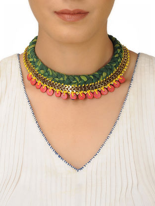 Green Fabric Braided Brass Necklace