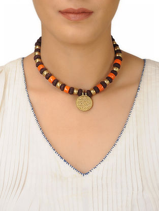 Brown Thread Brass Beaded Necklace
