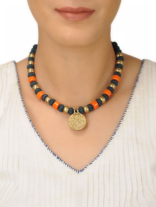 Green Thread Brass Beaded Necklace