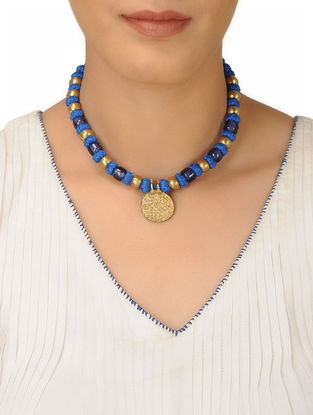 Blue Thread Brass Beaded Necklace