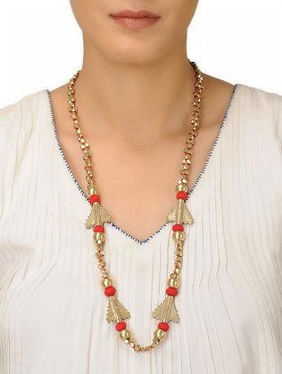 Orange Thread Brass Necklace