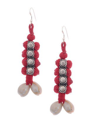 Red Thread Earrings with Sea Shells