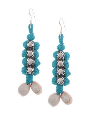 Blue Thread Earrings with Sea Shells