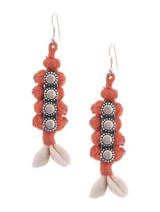 Orange Thread Earrings with Sea Shells