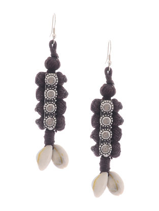 Brown Thread Earrings with Sea Shells