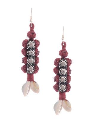 Maroon Thread Earrings with Sea Shells