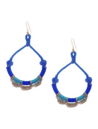 Blue Thread Brass Earrings