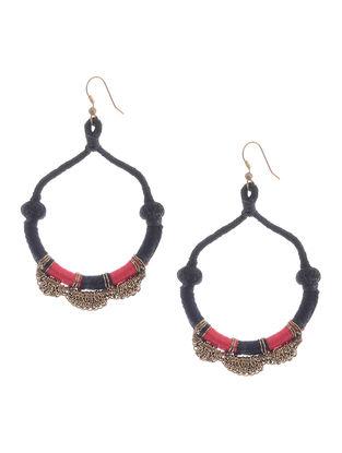 Red-Black Thread Brass Earrings
