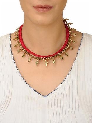 Red Thread Brass Necklace