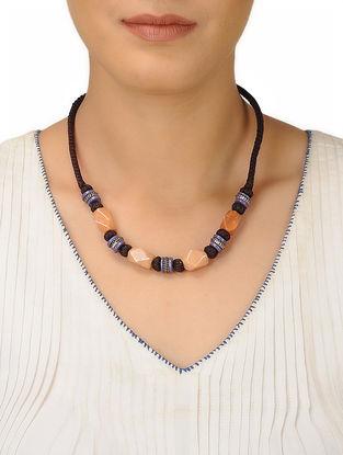 Beige-Purple Thread Necklace