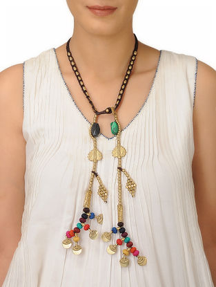 Multicolored Thread Brass Necklace