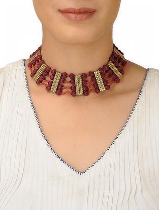 Brown-Orange Thread Brass Necklace