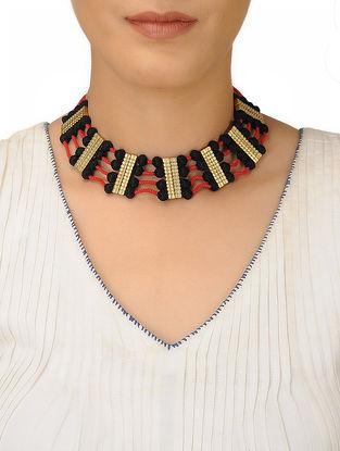 Black-Orange Thread Brass Necklace