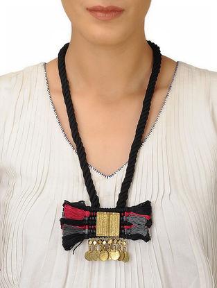 Black-Pink Thread Brass Necklace