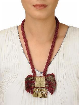 Maroon-Brown Thread Brass Necklace