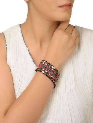 Pink-Blue Thread Brass Bracelet