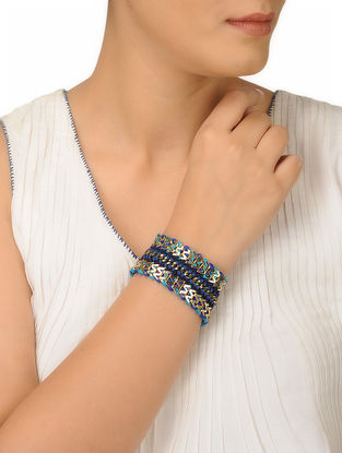 Blue Thread Brass Bracelet