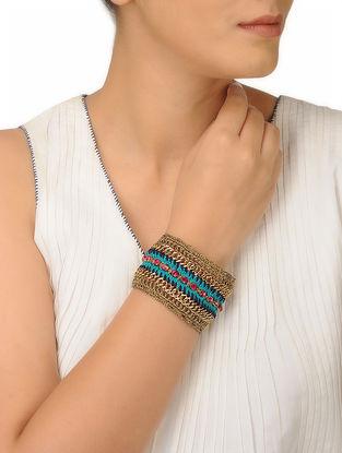 Blue-Pink Thread Brass Necklace