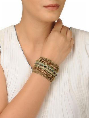 Green-Beige Thread Brass Necklace