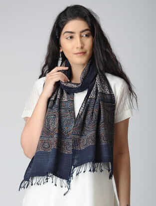 Blue-Ivory Ajrakh-printed Kala Cotton Stole