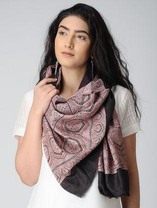 Pink-Black Ajrakh-printed Silk Stole