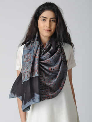 Blue-Black Ajrakh-printed Silk Stole