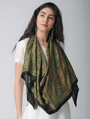Green-Black Ajrakh-printed Gajji Silk Stole