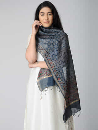 Blue-Ivory Ajrakh-printed Chanderi Stole With Zari Border