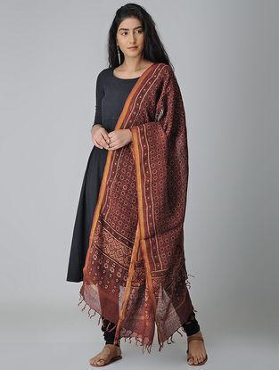 Maroon-Black Ajrakh-printed Linen Dupatta With Zari Border