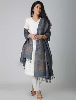Blue-Red Ajrakh-printed Tussar Silk Dupatta