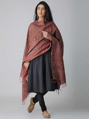 Red-Black Ajrakh-printed Tussar Silk Dupatta