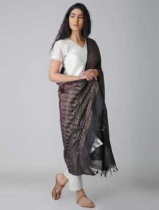 Black-Red Ajrakh-printed Tussar Silk Dupatta With Zari