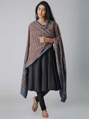 Maroon-Blue Ajrakh-printed Cotton Dupatta
