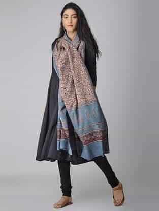 Red-Blue Ajrakh-printed Cotton Dupatta