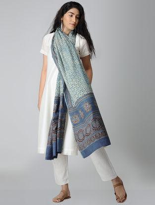 Ivory-Blue Ajrakh-printed Cotton Dupatta