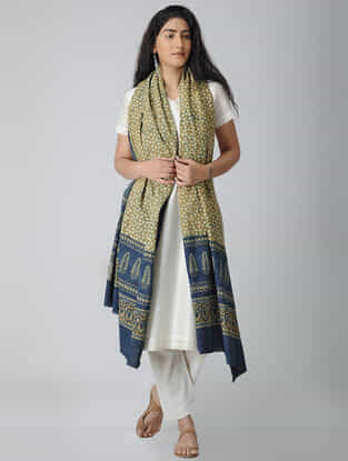 Beige-Blue Ajrakh-printed Cotton Dupatta