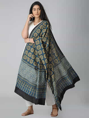 Blue-Beige Ajrakh-printed Cotton Dupatta