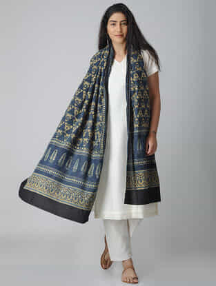 Blue-Beige Ajrakh-printed Cotton Dupatta