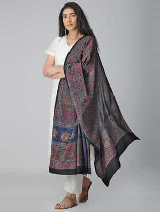Blue-Red Ajrakh-printed Cotton Dupatta
