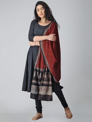 Red-Black Ajrakh-printed Cotton Dupatta