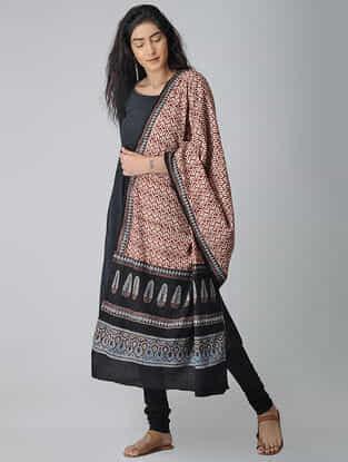 Ivory-Black Ajrakh-printed Cotton Dupatta