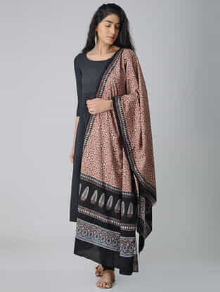 Ivory-Black Ajrakh-printed Cotton Dupatta