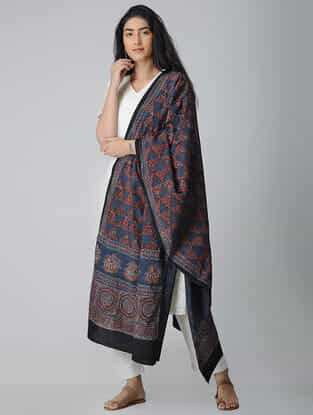 Blue-Maroon Ajrakh-printed Cotton Dupatta