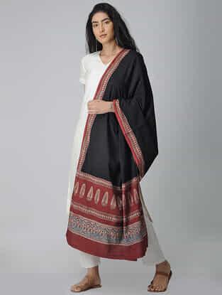 Black-Red Ajrakh-printed Cotton Dupatta