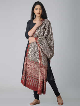 Ivory-Red Ajrakh-printed Cotton Dupatta