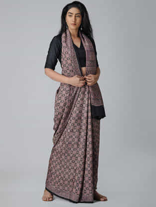 Brown-Black Ajrakh-printed Silk Saree