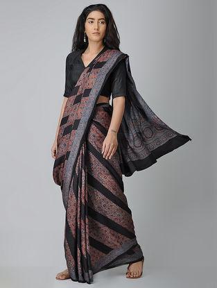 Black-Red Ajrakh-printed Silk Saree