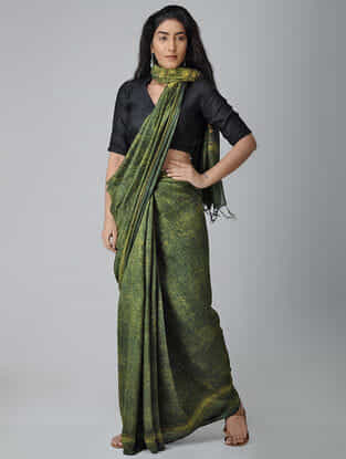 Green-Yellow Ajrakh-printed Tussar-Mulberry Silk Saree